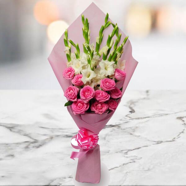 Soft Embrace 12 Pink Roses, 6 White Gladiolus