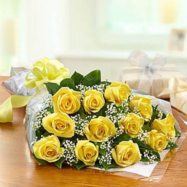 Exquisite 12 Yellow Roses Online