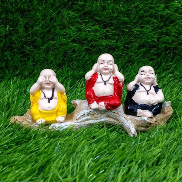 Set of 3 Buddha Monks Sitting on Wooden Log
