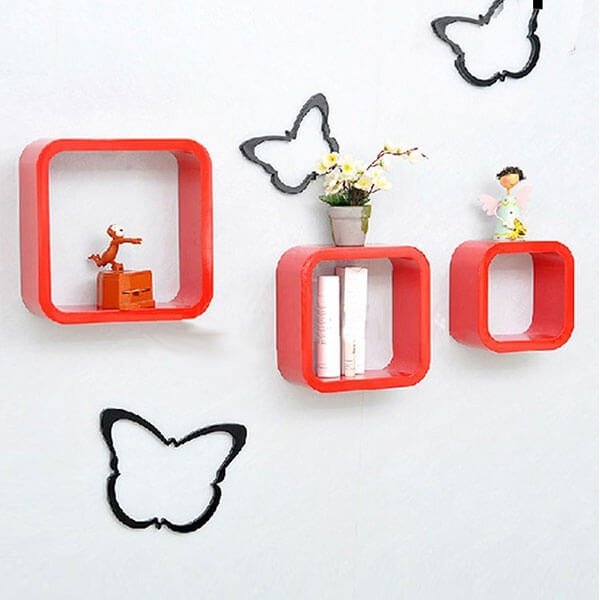 Red Square Wall Shelves